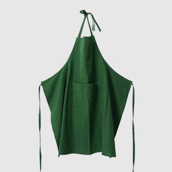 APRON-WASHED LINEN, FOREST GREEN